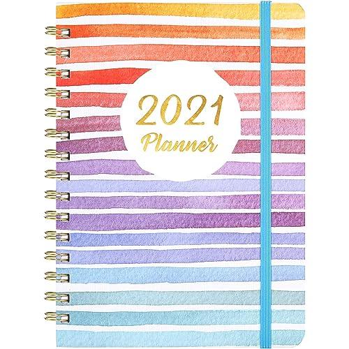 Agende Settimanali 2021 - Diario da gennaio 2021 a dicembre 2021, Copertina Rigida con Tasca Interna, Rilegatura a Doppio Filo, Colorato e divertente