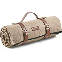VonShef Herringbone Picnic Blankets, Large Outdoor Picnic Blankets with Waterproof Lining and Faux Leather Carrier Handle, Outdoor Blankets 147 x 180cm (Beige)