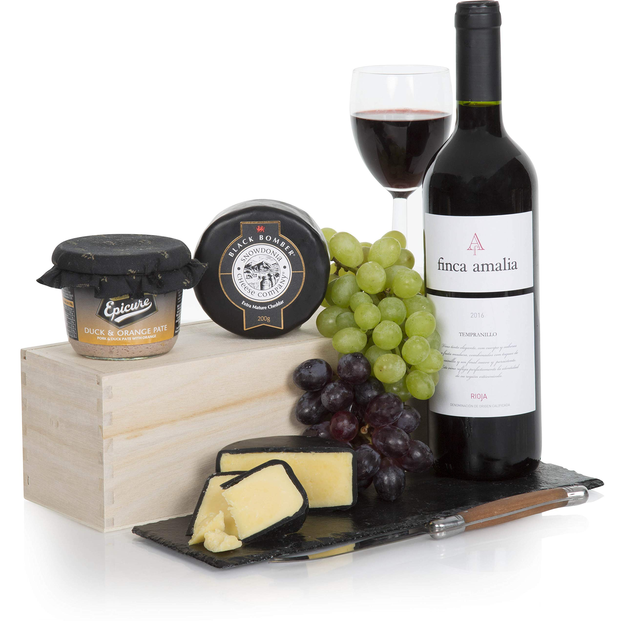 Wine and Cheese Gift Hamper – Luxury Rioja Red Wine and Award Winning Cheese Hampers – Free UK Delivery