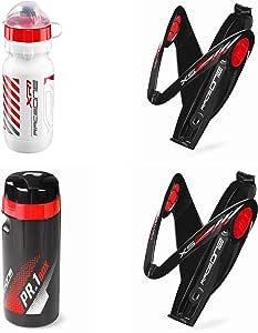 Raceone.it - Kit X5 Race Trio: Borraccia XR1 + 2 Portaborraccia X5 Gel + Toolbox PR1 Ideale per Bici Race/MTB/Gravel/Trekking Bike. Colore: Bianco/Rosso 100% Made in Italy (RO_Kit_3_X5_Blk/Red_WR