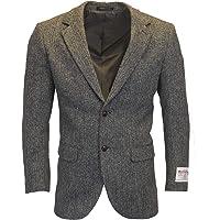 Walker & Hawkes - Mens Classic Scottish Harris Tweed Herringbone Country Blazer Jacket - Steel Grey - 38-48