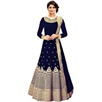 Fast Fashions Women's Embroidered Taffeta Silk Semi Stitched Anarkali Gown (Free Size_Blue)