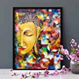 Painting Mantra Budha Theme 1 Framed Canvas Painting Art Print - 13x17 Inchs
