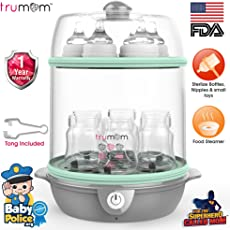 Trumom Electric Steam Sterilizer for 6 Feeding Bottles and Baby Food Steamer, Green