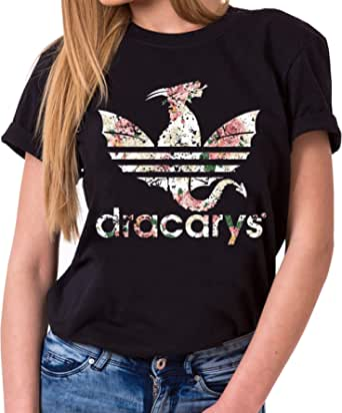 Tee Kiki Dracarys Valentin - Maglietta da Donna Girocollo Targaryen Thrones Game of Stark Lannister Baratheon Daenerys Khaleesi TV Blu-Ray Dvd