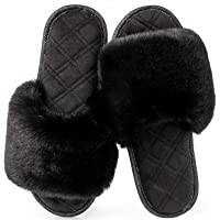 LongBay Ladies' Fluffy Faux Fur Open Toe Memory Foam House Slipper Cute Comfy Flat Cosy House Shoes