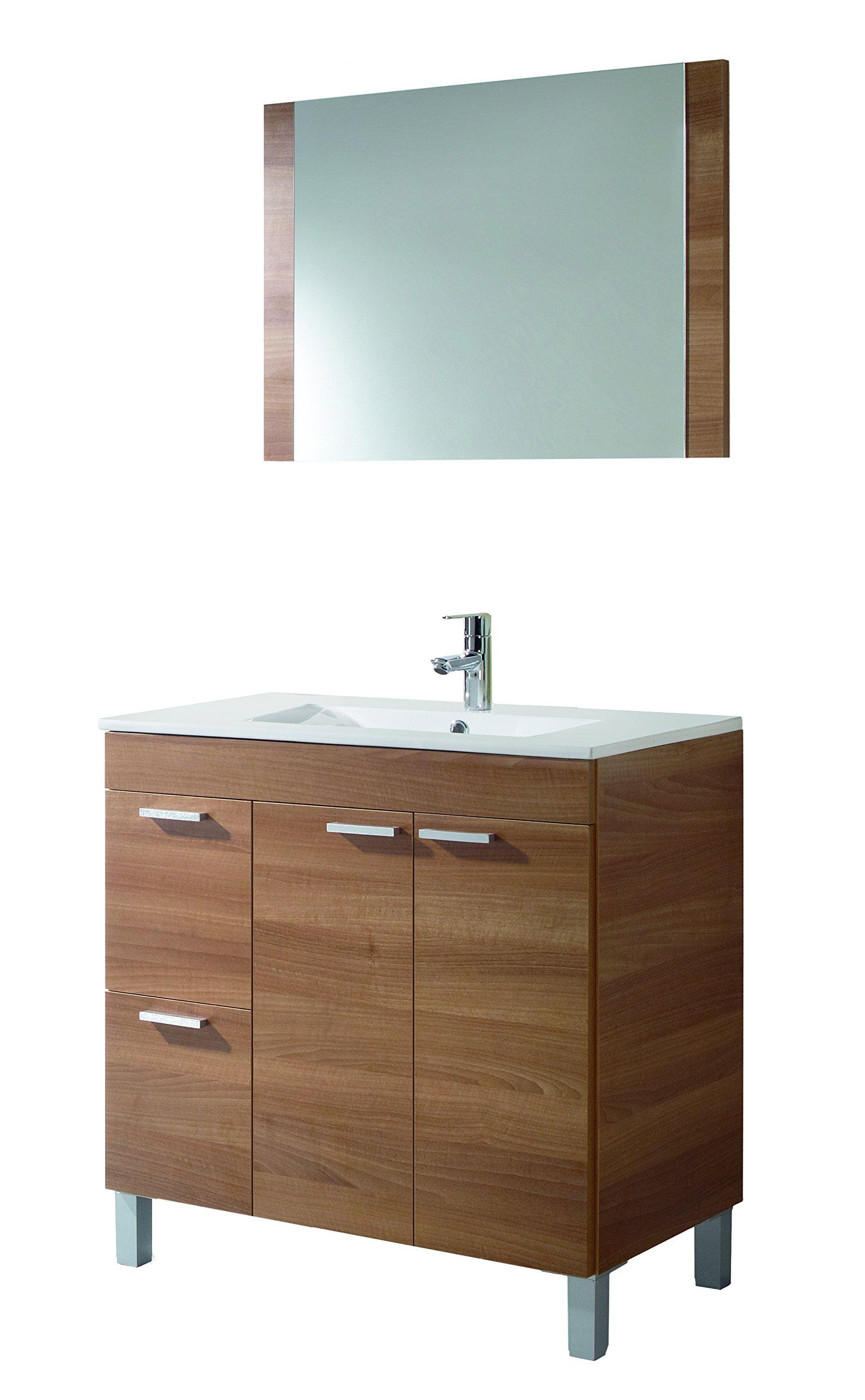 Easy Home Atena D6 Set Mobile Bagno con Specchio, Melamina, Noce, 80 X 80 X  45 Cm