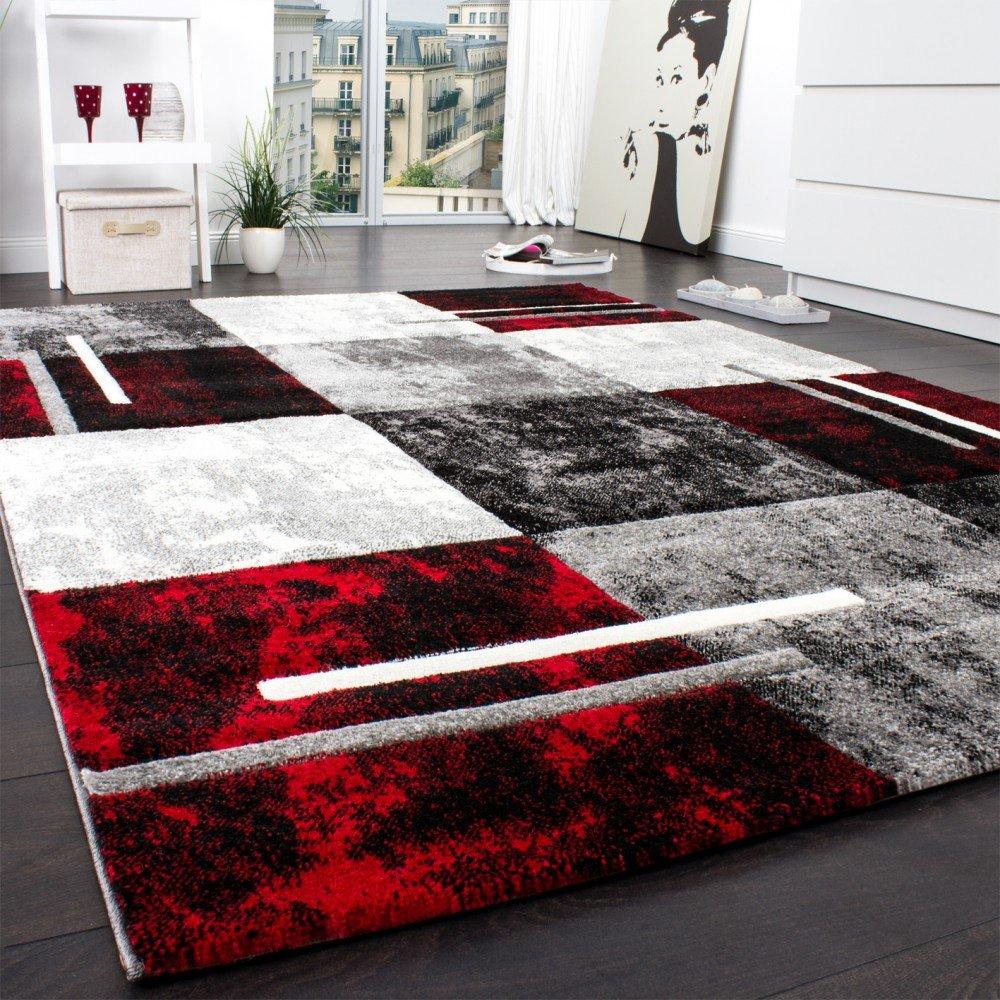 Designer teppich modern mit konturenschnitt karo muster grau ...