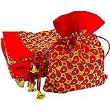 Krisah 23 X 18 cm Women Red Brocade Self Design Silk Brocade Gift Potli Bags for Gifting Pack of 10