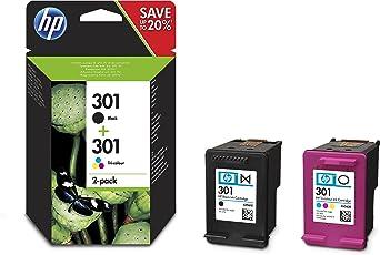 HP 301 Multipack Original Druckerpatronen (1x Schwarz, 1 von drei Farben) für HP Deskjet, HP ENVY, HP Photosmart