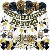 Zerodeco Graduation Decorations, Black and Gold Congrats Grad Banner Paper Pompoms Hanging Swirls Graduation Confetti Paper G