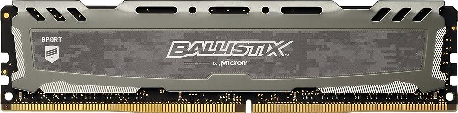 Ballistix Sport LT BLS8G4D240FSB Memoria da 8 GB, DDR4, 2400 MT/s, PC4-19200, DR x8, DIMM, 288-Pin, Unbuffered, Grigio