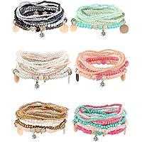 YADOCA 6 Ensembles Bracelets de Perles Empilables Bohème pour Femmes Filles Stretch Bangles Style Bohème Stretch…