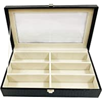 LA TROVE 6 Slot Sunglass Display Box CASE Organiser Leatherette SUNGLASSBOX Men Women Unisex Gift Boxes with Glass TOP