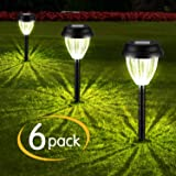 Brightown Solar Pathway Lights 6 PCs, LED Solar Powered Landscape Stake Lights for Garden Yard Walkway Outdoor Lawn Driveway