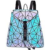 LOVEVOOK Geometrische Taschen Damen Handtasche Umhängetasche Geldbörse Set Rucksack Holographic Leuchtende Tasche
