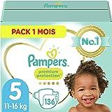 Pampers Couches Premium Protection Taille 5 (11-16kg) notre N°1 pour la protection des peaux sensibles, 136 Couches (Pack 1 M