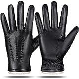 Guantes de cuero genuino para hombres, invierno cálido cachemira forro táctil guantes de mensajes de texto conducción guantes