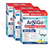 ArNiGo Dishwasher All in One Tablets (3 Packs X 30 Tablets = 90 Tablets)
