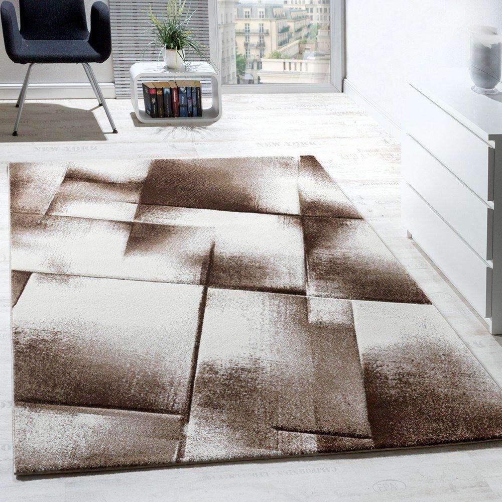 Designer Teppich Modern Wohnzimmer Teppiche Kurzflor Meliert Braun ...