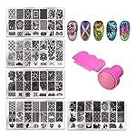 Trendy Club 1pcs Nail Stamping Plates + 1 Stamper + 1 Scraper Lace Flower Animal Pattern Nail Art Stamp Stamping Template...