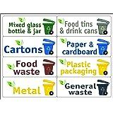 ATKOFFICE 24 Etichette per la Gestione dei rifiuti - Kit BIN Lingua Inglese - Formato 120x45 mm