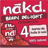 LOTUS Nakd Framboise Berry Delight Barres de Fruits/Noix Ingrédients 100% Naturels sans Sucre Ajouté sans Gluten 4 x 35 g 140