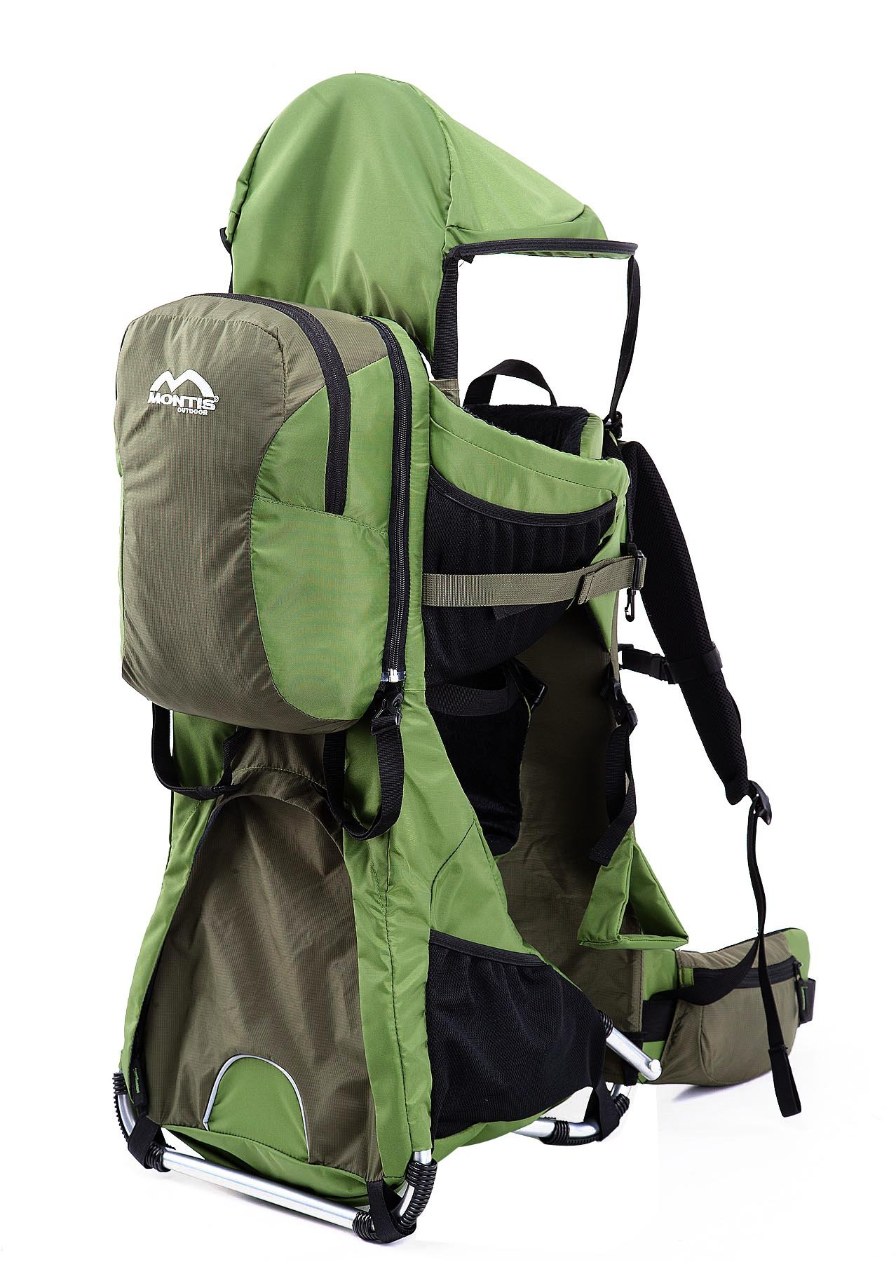 MONTIS RANGER PRO - Premium Backpack/Child Carrier - Holds up to 25kg M MONTIS OUTDOOR 89cm high, 37cm wide | Carries loads up to 25kg, seat bag 30L | Approx. 2.3kg (without extras) Easy-clean outer material | Fully-adjustable, padded 5-point child harness Super soft plush lining, raised wind guard, can be loaded from both sides | Fully-adjustable carry support system, additional ergonomic options for women | Comfortable waist belt for extended wearing with side pockets 2