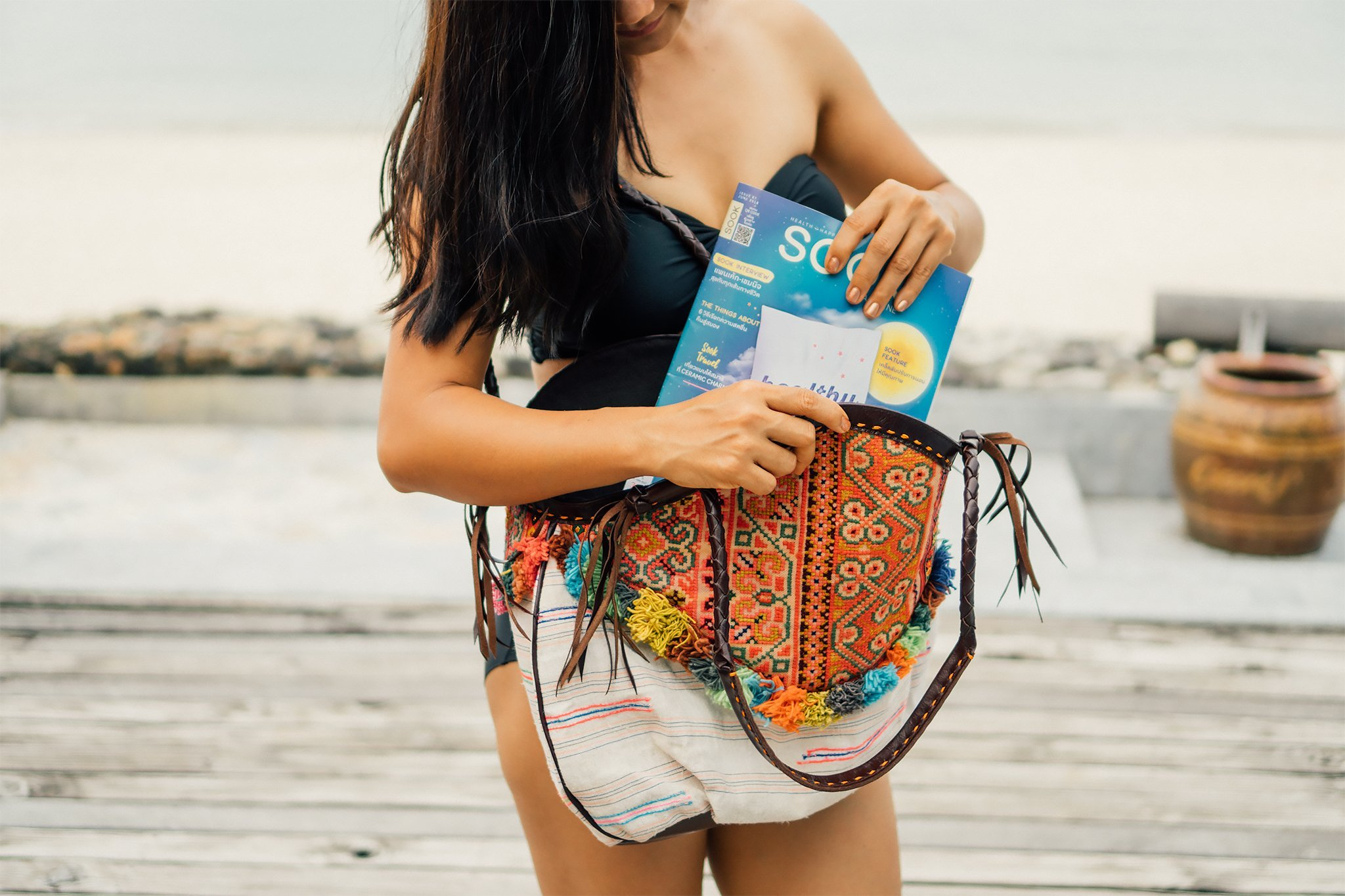 Changnoi One of a Kind Handcrafted Beach Tote Bag for Women, Vintage Hmong Embroidery Shoulder Bag - handmade-bags