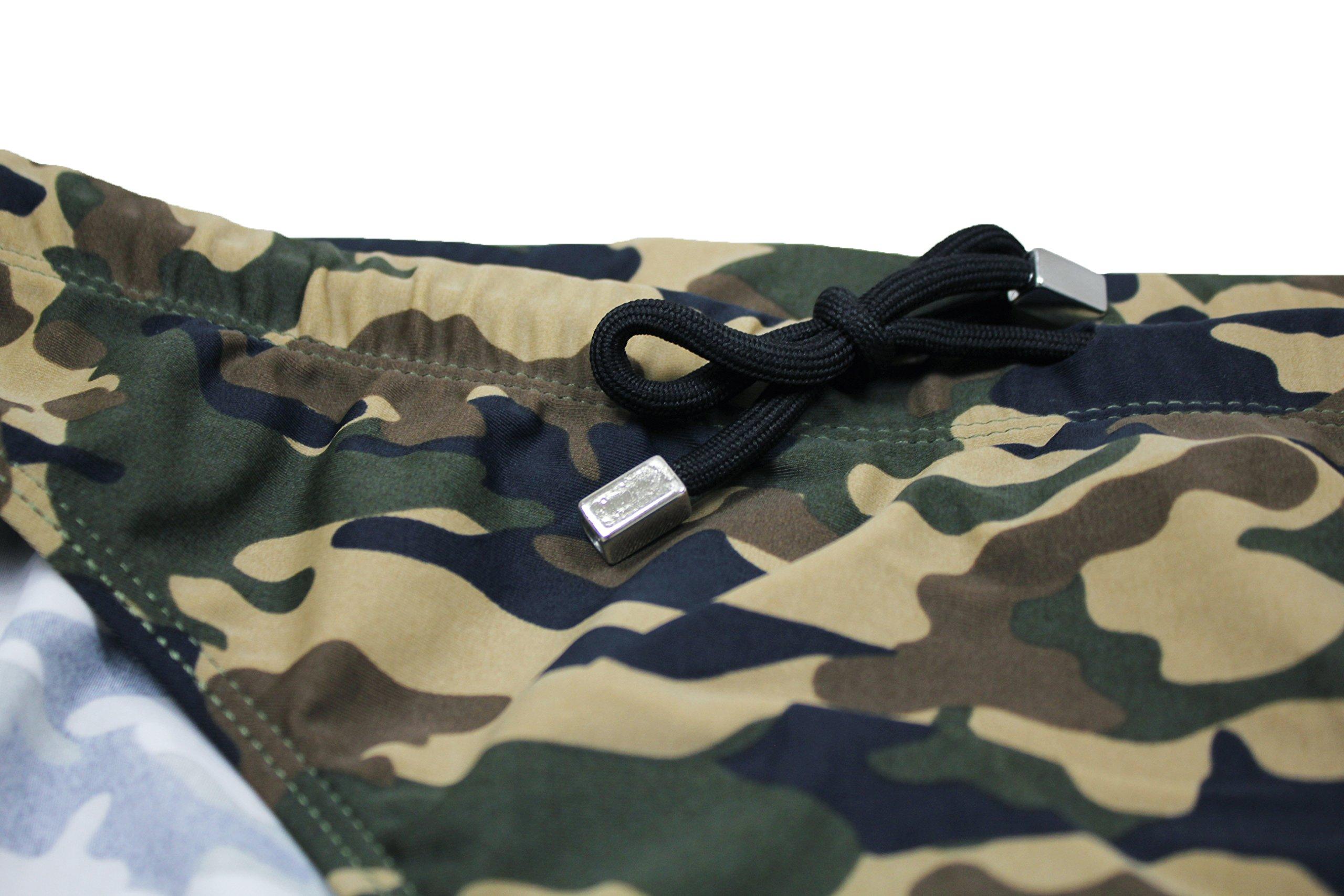 cd63b66600a7f8 Evoga Costume Slip Uomo Mimetico Militare Verde Casual Shorts Mutandina  Piscina Mare