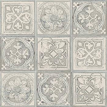 Newroom Tapete Grau Fliesen Mosaik Kachel Muster Papiertapete Blau