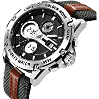 Montre-Bracelet de Sport Militaire analogique en Acier Inoxydable Multifonction en Acier Inoxydable pour Hommes et en Cuir avec Bracelet Militaire