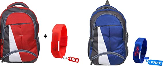 BLUTECH Canvas Red & Blue Waterproof School Bag & College LAPTOPfor Boys+ Free RED LED Unisex