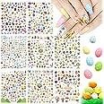 8 vellen Easter Nail Art Decals, Kalolary Bunny 3D Nail Glitter Zelfklevende Stickers Paaseieren Konijnen Kuiken voor Dames M