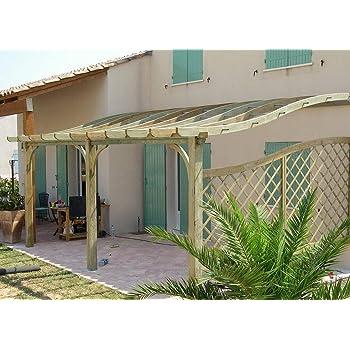 Tonnelle Adossee En Bois Pour Terrasse Toiture Archee A Forme S H