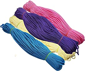 Happycraft Set of 4 Nylon 2mm Macrame Cord (60 Meters Each Cord) 6 ply Nylon Knotting Poly Propylene Cord for Macrame. Ideally Used for Jewelry Making, Bags and Various Other Craft Projects.