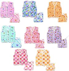 EIO New Born Cotton 8 Jhabla With 8 Langot Diaper (Pack Of 16)