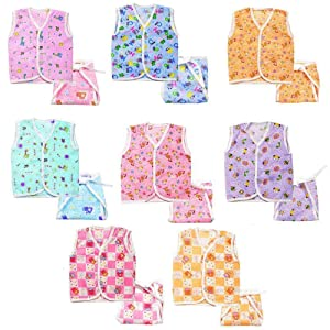 EIO New Born Cotton 8 Jhabla with 8 Langot Diaper (Pack of 16)