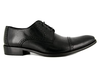 J Bradford Man Black Leather Shoes Derby JBGreg  Color  Black