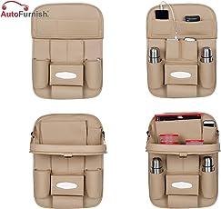 Autofurnish AF6620-2 3D Car Auto Seat Back Organizer (Beige)