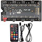 Case Fan Hub PWM + ARGB 2 en 1 Controlador, Fuente de alimentación SATA + Control de Placa Base y Control Remoto, para Ventil