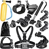 Robustrion 12 in 1 Mounts, Straps & Accessories Kit for GoPro Hero 8/7/6/5/4/3/2/1/SJCAM/Akaso/Apeman/Xiaomi Yi Action…