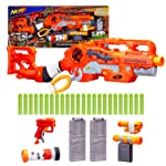 Nerf Scravenger Zombie Strike Toy Blaster with Two 12-Dart Clips, 26 Darts, Light, Barrel Extension, Scope, Stock, 2-Dart...