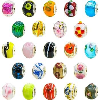 TOAOB Silber Glasperlen European Perlen Anhänger für Charms Schmuckarbeiten Armbänder Halsketten Packung mit 50 Stück