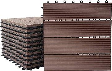 Mendler WPC Bodenfliese Rhone, Holzoptik Balkon/Terrasse, 11x je 30x30cm = 1qm