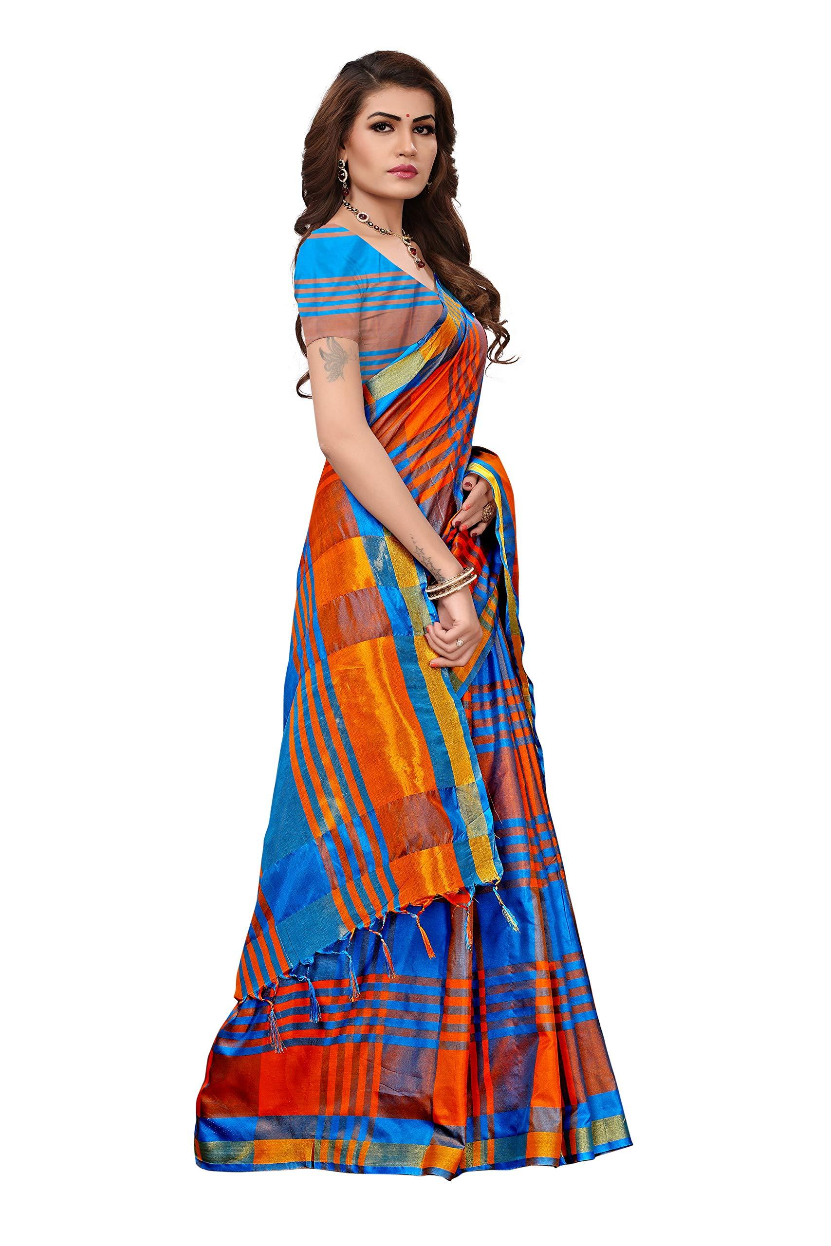 a1f30739c1fc6 Art Décor Multicolor Cotton Silk Saree with Blouse