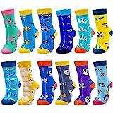 Jielucix Kleurrijke damessokken grappige katoen gekleurde sokken voor vrouwen 39-42