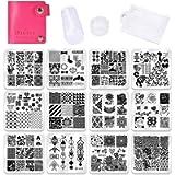 Nail Stamping Plates Set 12pcs Nail Plates 1stamper 1scraper 1storage bag Nail plate Template Image Plate Stencil Nails…