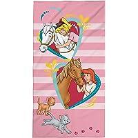 Bibi und Tina Strandtuch mit Pferde, Herzen, Mädchen, Badetuch Schwimmbadtuch 75x150 cm, 100% Baumwolle Velours, Rosa,
