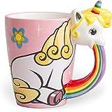 el & groove Einhorn-Tasse groß bunt in 3D | Kaffee-Tasse 350ml (400ml randvoll) | Tee-Tasse Einhorn aus Porzellan in Rosa, Weiß und Regenbogenfarben | Unicorn Becher | Sterne | Geschenkidee Ostern